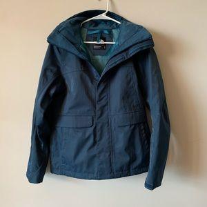 North Face blue hooded rain jacket